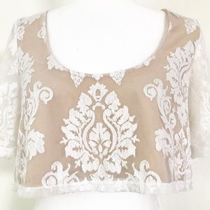 Honey Punch embroidered lace bohemian crop top